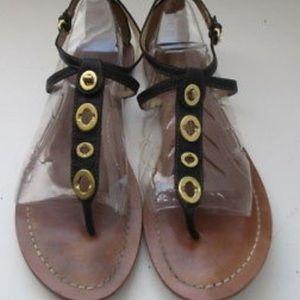 Coach sz 6.5 sienna sandal black & gold